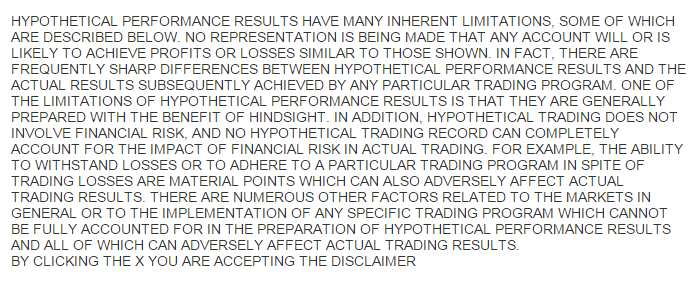 Trading system disclaimer